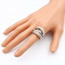 Rhodium Plated with Crystal Zinc Alloy Stretch Ring