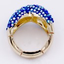 Gold Plated with Blue AB Crystal Zinc Alloy Stretch Ring