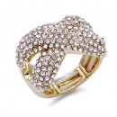 Gold Plated with Green AB Crystal Zinc Alloy Stretch Ring