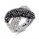 Rhodium Plated wtih Clear Crystal Zinc Alloy Stretch Ring