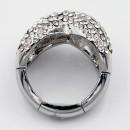 Rhodium Plated wtih Clear Crystal Zinc Alloy Stretch Ring