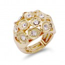 Gold Plated With Clear Crystal Zinc Alloy Flower Stretch Ring