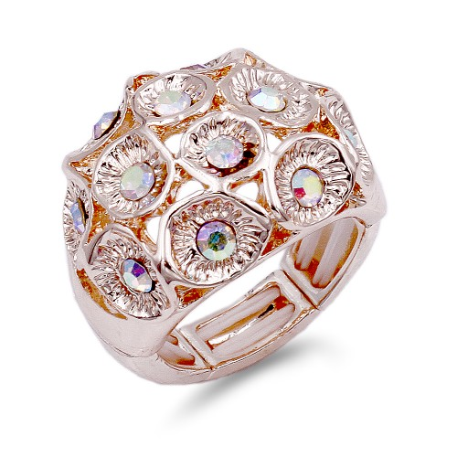 Rose Gold Plated with AB Crystal Zinc Alloy Flower Stretch Ring