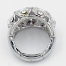 Rhodium Plated with Clear Crystal Zinc Alloy Flower Stretch Ring