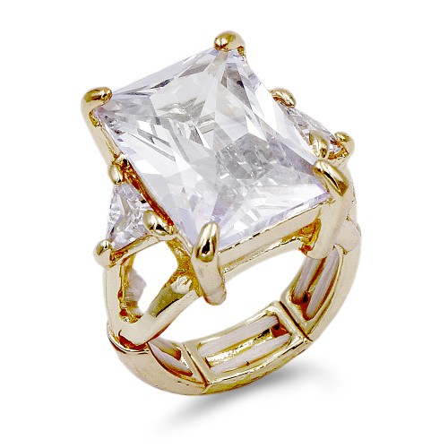 Gold Plated with Clear Crystal Zinc Alloy Stretch Ring