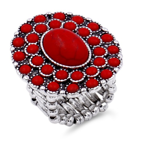 Anti Silver Platd With Red Stone Stretch Ring