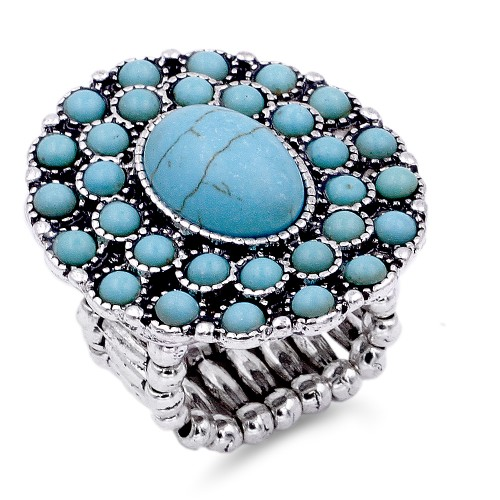 Anti Silver Platd With Turquoise Stretch Ring
