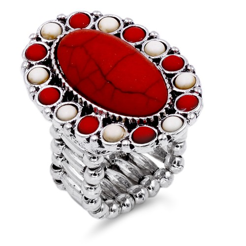 Anti Silver Plated With Mix Stone Stretch Ring