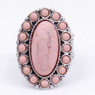 Anti Silver Plated With Pink Stretch Ring