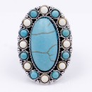 Anti Silver Plated With White and Turquoise Stretch Ring
