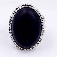 Anti Silver Plated With Black Stone Stretch Ring