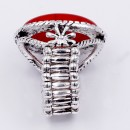 Anti Silver Plated With Red Stone Stretch Ring