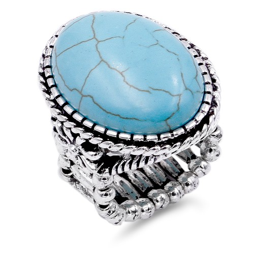 Anti Silver Plated With Turquoise Stretch Ring