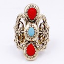 Anti gold Plated With Turquoise and Red Stone Stretch Ring