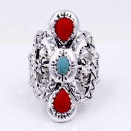 Anti Silver Plated With Turquoise and Red Stone Stretch Ring