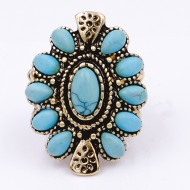 Anti Gold Plated With Turquoise Stone Stretch Rings