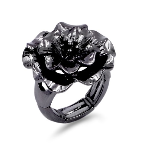 Gunmetal Plated Flower Stretch Ring