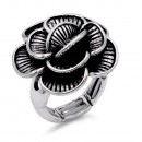 Gunmetal Plated Flower Stretch Ring