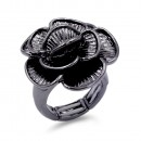 Burnished Silver Plated Flower Stretch Ring