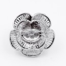 Rhodium Plated Flower Stretch Ring