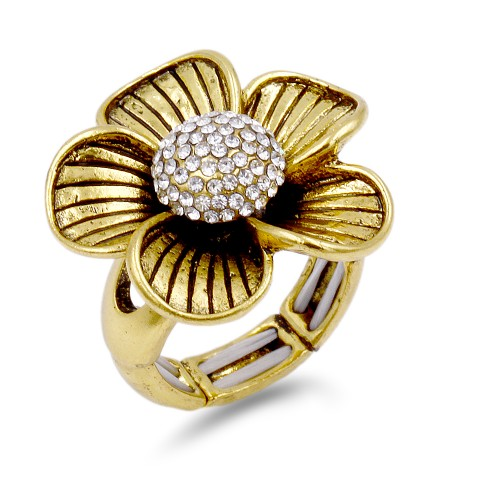 Antique Gold Plated With Clear Crystal Flower Stretch Ring