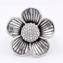 Antique Silver Plated With Clear Crystal Flower Stretch Ring