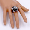 Gunmetal Plated With Clear Crystal Flower Stretch Ring