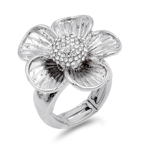 Rhodium Plated With Clear Crystal Flower Stretch Ring