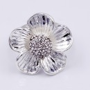 Burnished Silver Plated W/ Clear Crystal Flower Stretch Ring