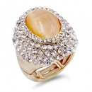 Gold Plated With Jet Crystal / Jet Cat Eye Stretch Ring
