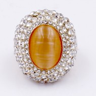 Gold Plated With Clear Crystal / Topaz Cat Eye Stretch Ring