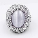 Rhodium Plated W.Clear Crystal / White Cat Eye Stretch Ring