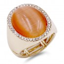 Gold Plated W. Clear Crystal / Topaz Cat Eye Stretch Ring