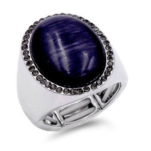 Rhodium Plated W.Black Crystal/Jet Cat Eye Stretch Ring