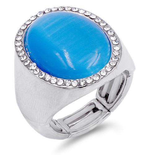 Rhodium Plated W.Clear Crystal / Blue Cat Eye Stretch Ring