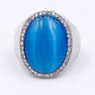 Rhodium Plated W.Clear Crystal / Blue Cat Eye Stretch Ring