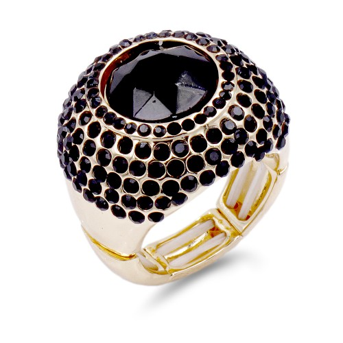 Gold Plated with Black Crystal Stretch Ring