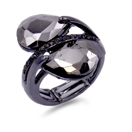 Gunmetal Plated With Hematite Crystal Stretch Ring