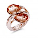 Rose Gold Plated With Peach Crystal Stretch Ring
