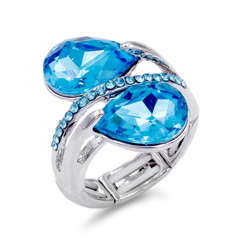 Rhodium Plated With Aqua Crystal Stretch Ring