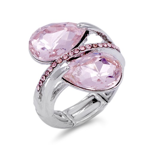 Rhodium Plated With Pink Crystal Stretch Ring