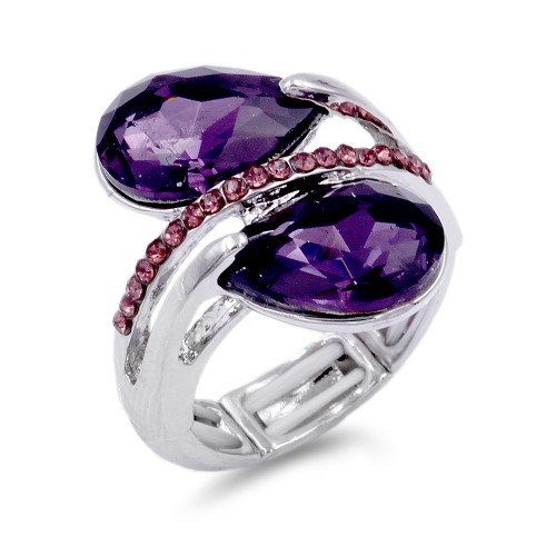 Rhodium Plated With Purple Crystal Stretch Ring