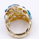 Gold Plated With Aqua Crystal Stretch Ring