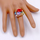 Gold Plated Multi Color Crystal Stretch Ring