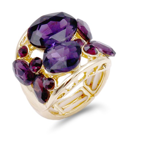 Gold Plated With Purple Crystal Stretch Ring