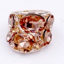 Rose Gold Plated With Peach Color Crystal Stretch Ring