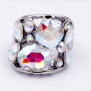 Rhodium Plated With AB Clear Crystal Stretch Ring