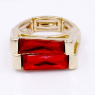 Gold Plated With Red Color Crystal Stretch Ring