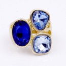 Gold Plated With 3 Blue Color Crystal Stretch Ring