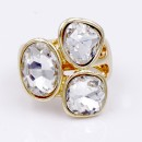 Gold Plated With 3 Clear Crystal Stretch Ring